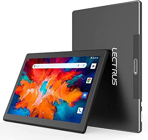 Tablet 10 Pulgadas, LECTRUS Tablets Android 10, Procesador Quad-Core 1.6GHz, 800 * 1280 IPS, 6000mAh Batería, 2GB RAM+32GB ROM, SD 128GB, Cámara Dual 2MP+5MP, WiFi/Google/Bluetooth - Negro