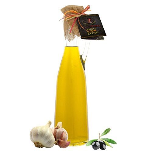 Knoblauchöl, Knoblauch - Öl aus Nativem, Extra Vergin Olivenöl, Griechenland. Ungefiltert. Kaltgepresst. Traditionelle Herstellung im Familienbetrieb. AMPHORE ROMANA - Flasche 750ml.