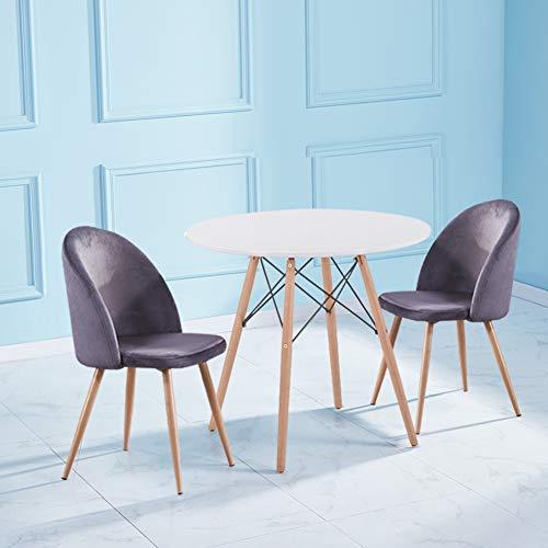 GOLDFAN Esstisch Weiß mit 2er Sessel Tisch rund und 2 Grau Samt Stuhl Wohnzimmertisch und Lounge Sessel