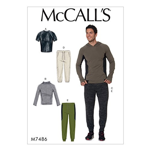 McCall Patterns M7486 XM Men's Raglan Sleeve Tops and Drawstring Pants Sewing Pattern, Size SML-MED-LRG