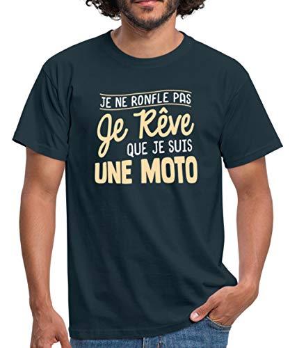 Spreadshirt Ronfler Humour Je rêve Que Je suis Une Moto T-Shirt Homme, XL, Marine