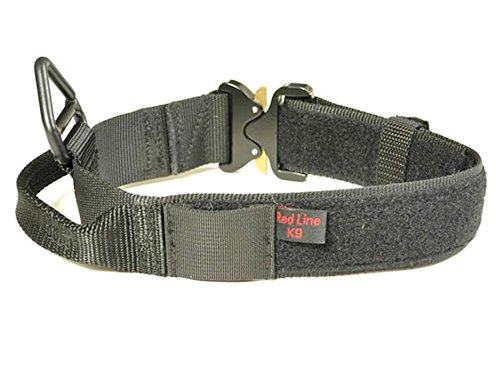 Redline K9 Maxtac 1.75' Black Service Dog Id Collar with Handle & Cobra Buckle Fits Neck Size 19' - 25'