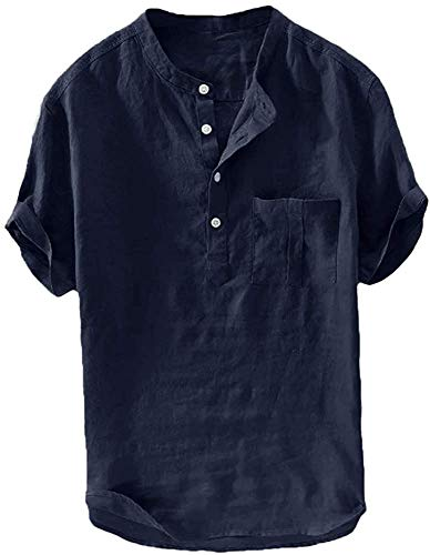 Herren Leinenhemd Kurzarm Hemd Sommerhemd Fischerhemd Baumwolle Stehkragen Freizeit Henley T Shirts, Dunkel Blau, M