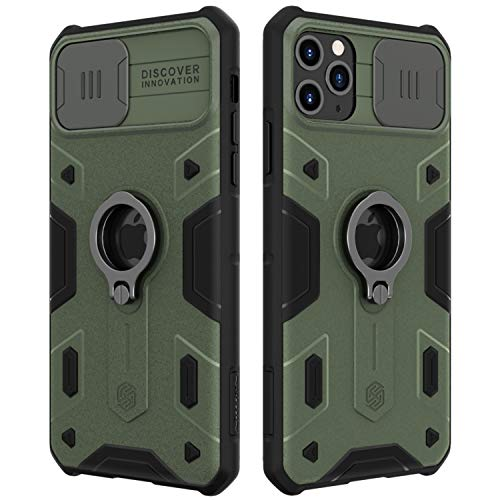 Nillkin iPhone 11 Pro Max Case - Military Grade Case with Stand Kickstand Ring and Slide Camera Cover, CamShield Armor Case for Apple iPhone 11 Pro Max 6.5 inch (2019), Midnight Green