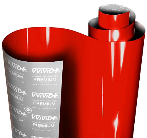 VViViD+ Ultra Gloss Racing Red Vinyl Car Wrap Premium Paint Replacement Film Roll with Nano Air Release Technology, Stretchable Protective Cap Liner, Self Adhesive (1ft x 54')