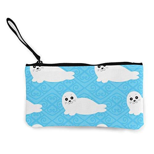 Yuanmeiju Lovely Baby Seal Canvas Coin Money Money Bag Cellphone Bag with Zipper