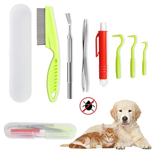 Chanurae Zeckenzange für Hunde & Katze Set. Edelstahl Zeckenentfernung Zeckenentferner Zeckenpinzette und Plastik Zeckenhaken mit Aufbewahrungsbox für Haustiere