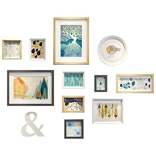 Y & Z * Beeld Frames Galerij Wandfoto Frame Set - Set Van 11 - Nordic Wood Sofa Achtergrond Muur Creatieve Combinatie Restaurant Fotobehang Boeken