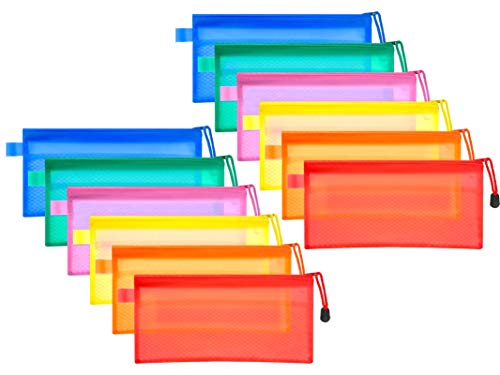 Bolsas de Documentos A6, Carpetas Para Archivo, 12Pcs Carpetas de Plástico Bolsas, Bolsas de documentos de malla para la oficina escolar, para Documentos, Certificados, Recibos (6 Colores)