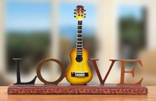 Guitar Desk Decoration - Love Guitar Decoration for Desktop - Vintage Music Display Themed Gift - Guitarist Gift for All Occasions