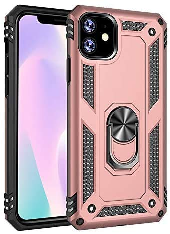 iPhone 12, 12Pro Case - Shockproof Case with Magnetic Iron for Car Mount and Ring Holder Kickstand Bottle Opener- Armor Heavy Duty Phone Cases for Apple iPhone 12 and 12 Pro 6.1 (Rose Gold)