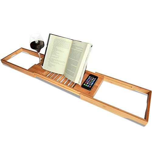 Bandeja tina de baño de bambú de lujo Bañera Caddy con la extensión de los lados, construido en el libro de la tableta sostenedor de la bandeja Móvil y Integrado Copa Holder y otros accesorios de Colo