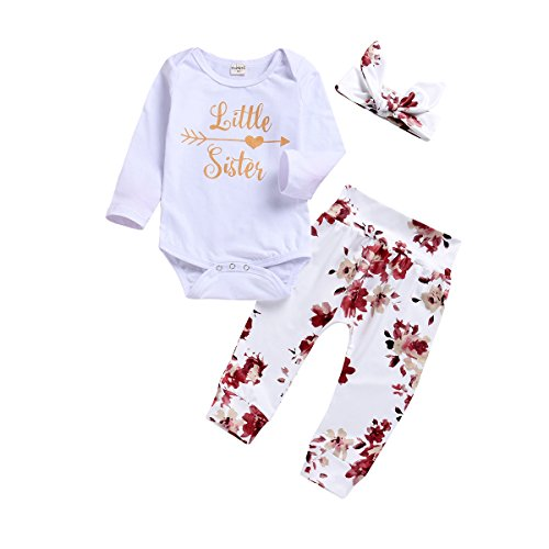 chicolife Baby Mädchen Strampler Rompersuits Little Sister Pfeil Herz Printed Bodys 0-6Month,0-6Month