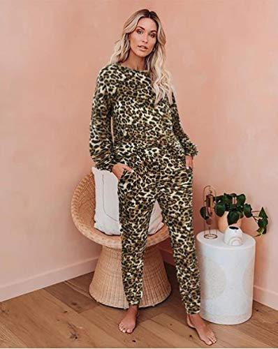 Pyjama Damen Nachthemd Schlafanzug Zweiteilige Tie Dye Leopard Printed Frauen Pyjamas Set Langarm Tops Und Lange Hosen Nightwear Casual Nachtwäsche M Leopard