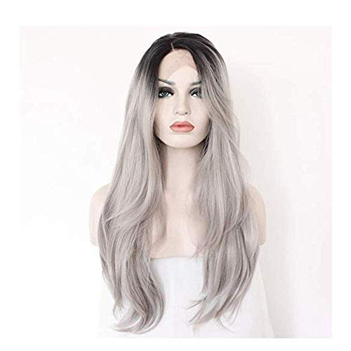 ZLININ Y-longhair Synthetic Long Wave Ombre Wig Two Tones Black Rooted Grey Heat Resistant Middle Part Wig For Women (Color : Photo Color)