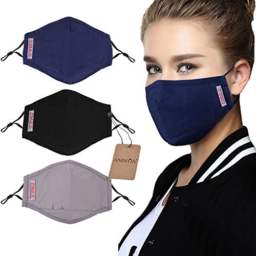Dust Mask, 3 Pack Anti Dust Pollution Mask with 6 Pcs Activated Carbon Filter Insert Washable Cotton Mouth Mask with Adjustable Straps
