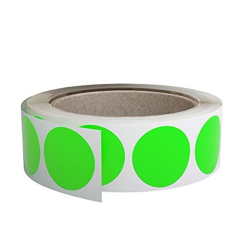 Royal Green Rollo de etiquetas de codificación de colores de 3,17 cm, pegatinas de color verde neón, 30 mm, 1000 unidades
