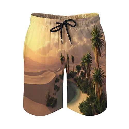 QUEMIN Strand-Shorts mit Kordelzug für Herren, Oase bei Sonnenuntergang in Einer Badewanne mit Sandwüste Schnelles Trockenfutter-Netz mit Taschen, M.