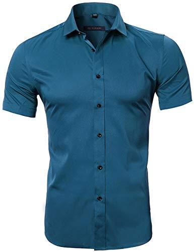 HARRMS Herren Hemd Kurzarm Slim Fit Bambusfaser für Anzug/Business/Hochzeit/Freizeit,Hemden Shirts für Männer,Blau,M-41 EU
