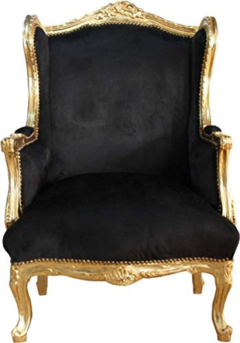 Casa Padrino Antik Stil Ohrensessel Tron Stuhl Schwarz/Gold Mod2 - Barock Lounge Thron Sessel