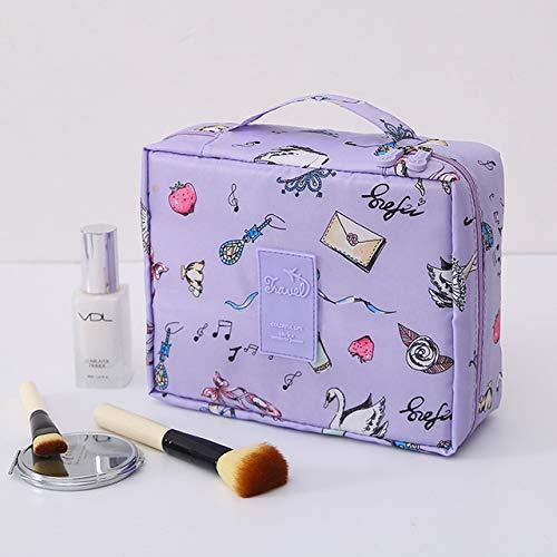 Sac de rangement pour femme Sac à cosmétiques mignon Maquillage Brosse Cosmétique Sac à main Sac à cosmétiques pour hommes Voyage 24 * 18CM Cygne violet