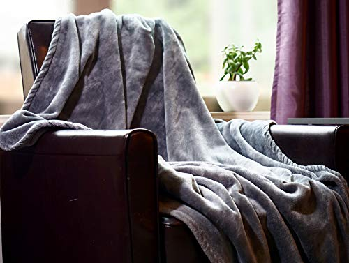 """Higher Comfort Luxuriously Soft Throw Blankets - Oversized Gray Blanket - 60"""" x 72"""" - Fleece All-Season Gray Throw Blankets for Couch and Bed"""