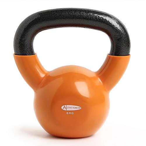ActiveForever Kettlebell, Kettlebell in ghisa Rivestita in Neoprene, Kettlebell, Fitness Kettlebell (Arancione, 6Kg)