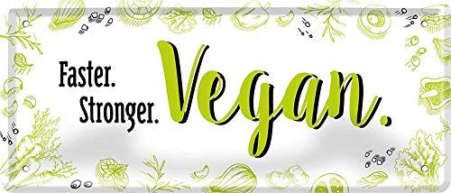 Faster Stronger 1539 Vegan Veganer Plaque décorative en tôle Motif écrue 28 x 12 cm