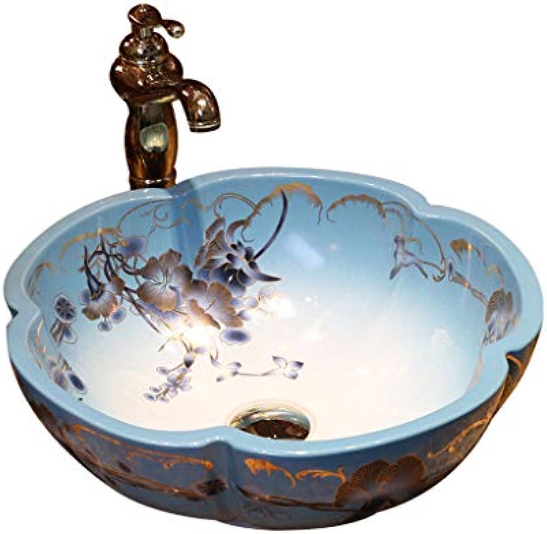 Bad Petal-frmige Mode Waschbecken Waschbecken Jingdezhen Ceramic Hotel Anti-Splash Waschbecken Waschbecken