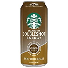 Pack of twelve, 15 ounces per can Starbucks Doubleshot Energy Mocha 220 calories per can Grab a can of Starbucks Doubleshot Energy Coffee and stay alert Sugar content: 26 grams (per 15 ounces)