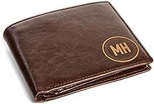 Silver Personalized Medium Brown Borello Leather Tri-fold Wallet