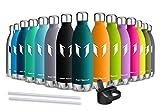 Super Sparrow Trinkflasche/Wasserflasche Doppelwandig Vakuum Isoliert Edelstahl - 500ml - Auslaufsicher Sport Trinkflaschen | Ideale Flasche - BPA-freie Sportkappe mit Standardkappe
