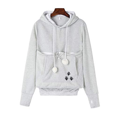 Damen Kapuzenpullover Sweatshirt - Juleya Herbst und Winter Long Sleeve Hoodie Pullover mit Katze / Hund Tasche , Farbe Grau , Gr.L