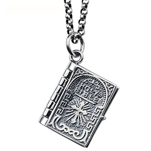 AMOZ Vintage Cruz Señor 's Oración Santa Biblia Libro Colgante Collar Joyería Religiosa 925 Colgante de Plata Esterlina,Cadena de Plata de 21,7 Pulgadas