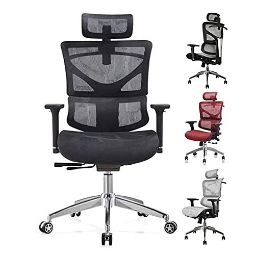 HGTRH Drehstuhl Chefsessel, Pc Stuhl Ergonomisch Lendenwirbelstütze Chefsessel Große Menschen Schreibtischstuhl Lendenwirbelstütze Atmungsaktiver Verstellbarer Kopfstütze Sitzhöhe