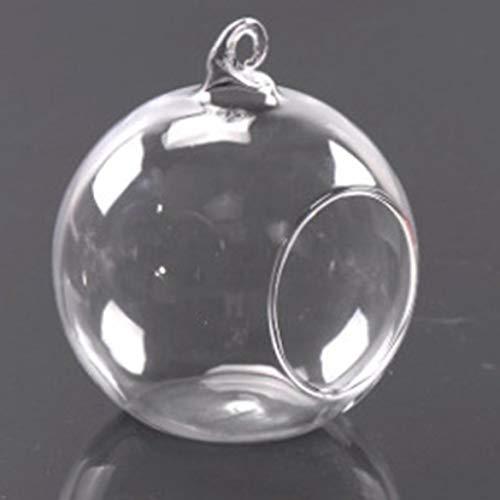 Bellaluee Jarrón redondo para colgar, transparente, florero hidropónico, florero de cristal, jarrón redondo para colgar jarrones de cristal, pecera, pecera, accesorios decorativos para el hogar, 6 cm