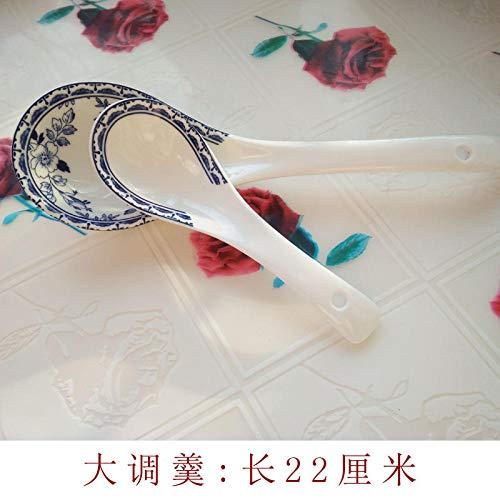 Vajilla popular europea vajilla de cerámica retro azul y blanca Platos chinos y occidentales plato taza-Cuchara grande longitud 22cm