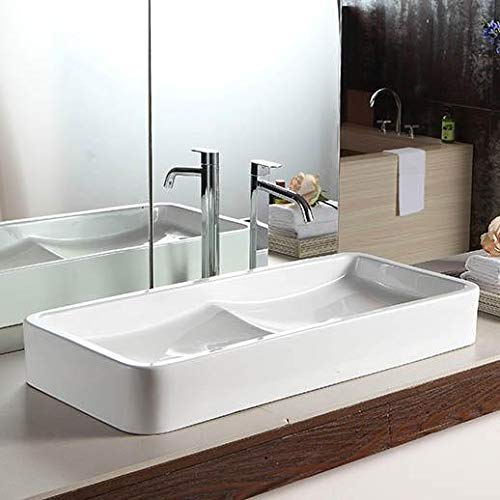 """Magnus Home Products Gurney Vitreous China Double-Bowl Vessel Bathroom Sink, 31 1/2"""" L x 15 3/8"""" W, 30.0 lb"""