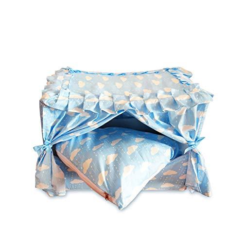 Zjyfywpj Pet Nest Zwinger Pet Tent Abnehmbares Kissen Leicht Zu Reinigen Bietet EIN Gutes Schlafklima for Haustiere (Farbe : Blau, Größe : M)