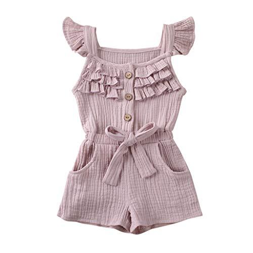 LEXUPE Kleinkind Kleinkind Baby Kinder Mädchen Junge Rüschen Bogen Strampler Jumpsuit Playsuit Outfits(Beige,80)