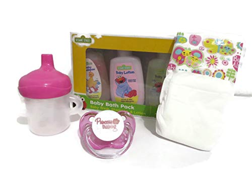 Play Set Compatible with Baby Alive Super Snacks Snackin Sara with Hair- Princess in Training Pacifier, Baby Alive Sippy Cup + Diaper + Lotion - No Doll