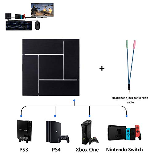 PXN Keyboard and Mouse Adapter Converter For PS3 / PS4 / Xbox One / Nintendo Switch, With 3.5mm Headphone Jack, Support Game Voice, Custom & Reset Button Function, Breathing Light Effect.