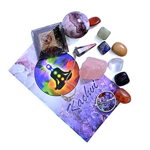 KACHVI Cristales curativos Piedras curativas Curación 7 Piedras Naturales de Chakra caídas/meditación Kit de curación de Cristal de 13 Piezas, Bola de Amatista para Dinero energético
