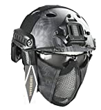 Jadedragon PJ Tactical Fast Helmet & Protect Ear Foldable Double Straps Half Face Mesh Mask & Goggle (Black Python Lines)