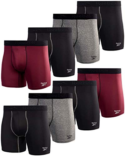 Reebok Men s Underwear - Performance Boxer Briefs with Fly Pouch (8 Pack) (Black Fig Grey, Large)