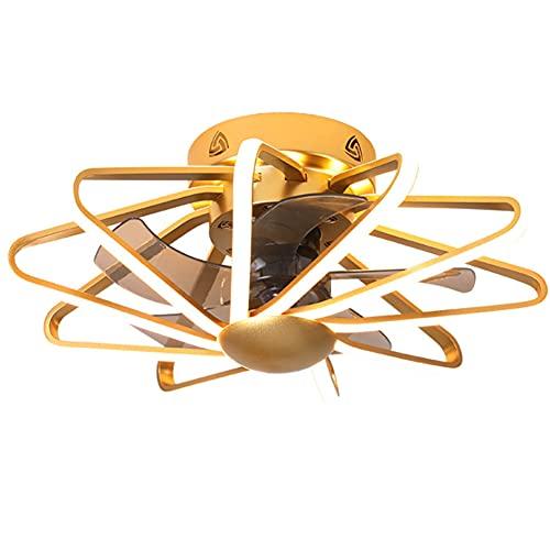 RUIXINBC Techo del LED Ventilador con Iluminación, Ajustable Velocidad De La Luz Ajustable Ventilador De Techo con Control Remoto 112W Silenciosa Invisible Luz De Techo Ventilador,Oro