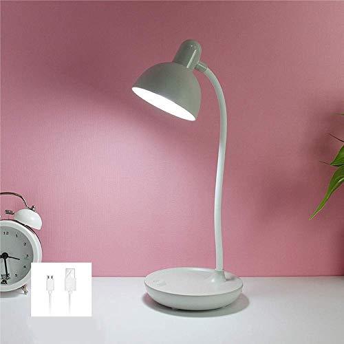 Mopoq LED-Augenschutz-Tischlampe USB aufladbare dimmbare Leselampe Kunst-Dekoration ABS Nachttischlampe Einfache Schlaf Student Schreibtischlampe (Farbe: Grau) (Color : Gray)