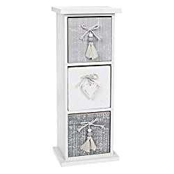 Joe Davies Provence Cool Grey Three Drawer Chest with White Heart Details