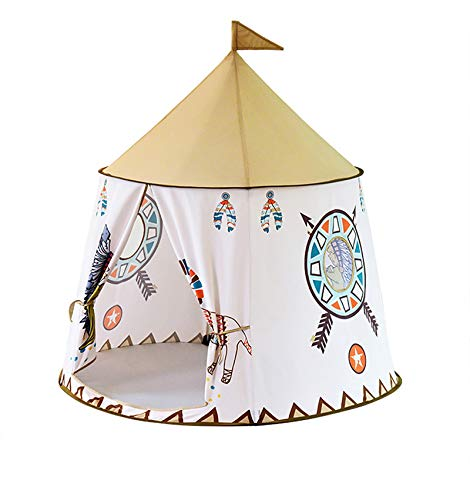 Xiangtat Foldable Kid Play Tent, Indian Cartoon Children Playhouse with Carrying Bag,Skin-Friendly Material Safety Certified, PoP Up Indoor and Outdoor Castle for Boys and Girls (Indian Lion)
