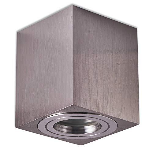 Aufbaurahmen Edelstahl gebürtstet IP44 eckig GU10 für Aufbauleuchte – Aufbaustrahler für Bad und Außenbereich 95x80x80mm – für LED und Halogen Leuchtmittel – Einbau-Strahler